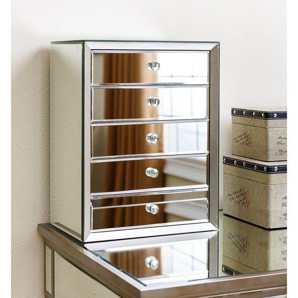 Abbyson Omni Mirrored 5drawer Jewelry Box Jewerly Boxs Storage