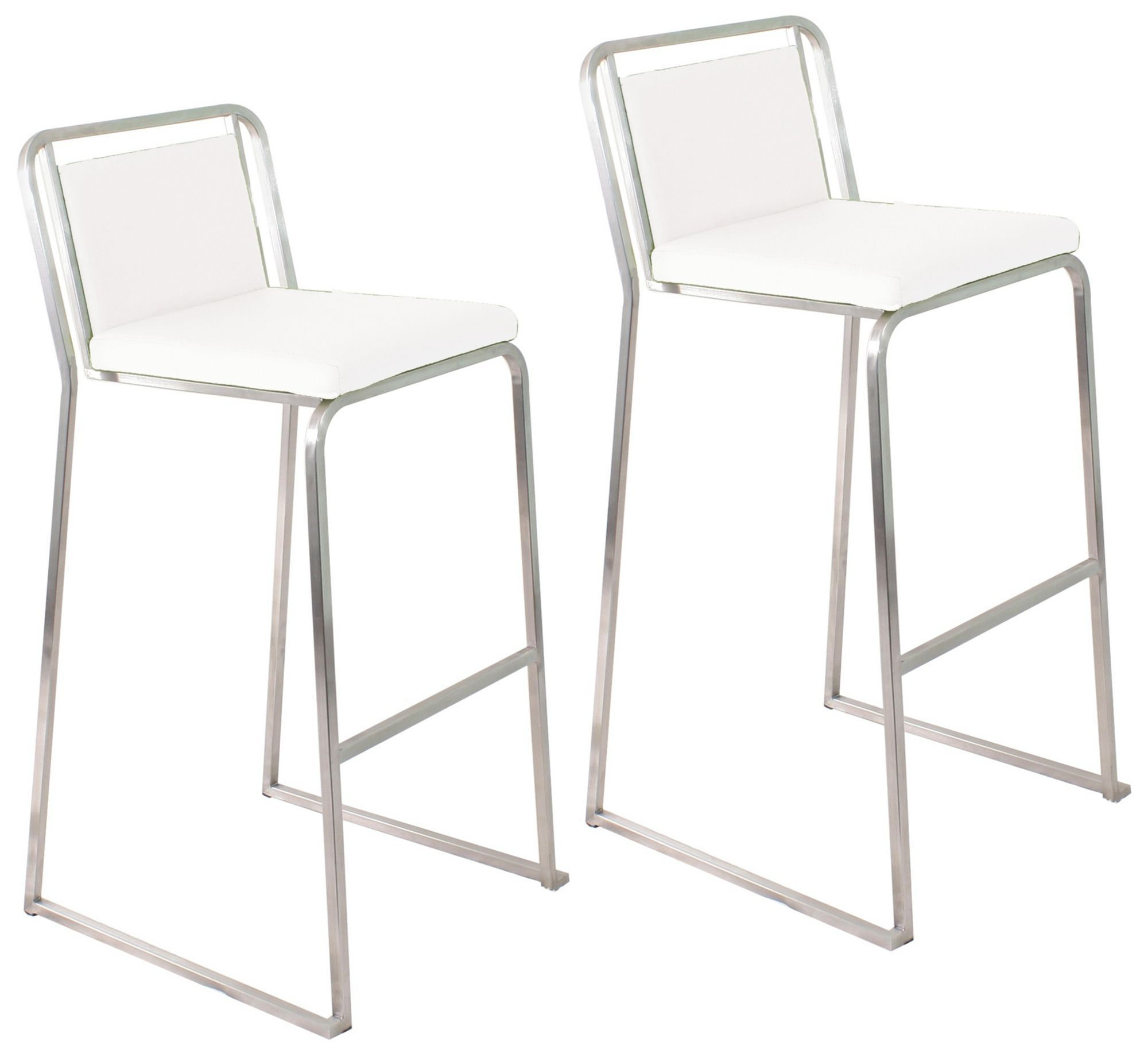 "Set of Two Cascade 29 1 2"" High White Bar Stools"
