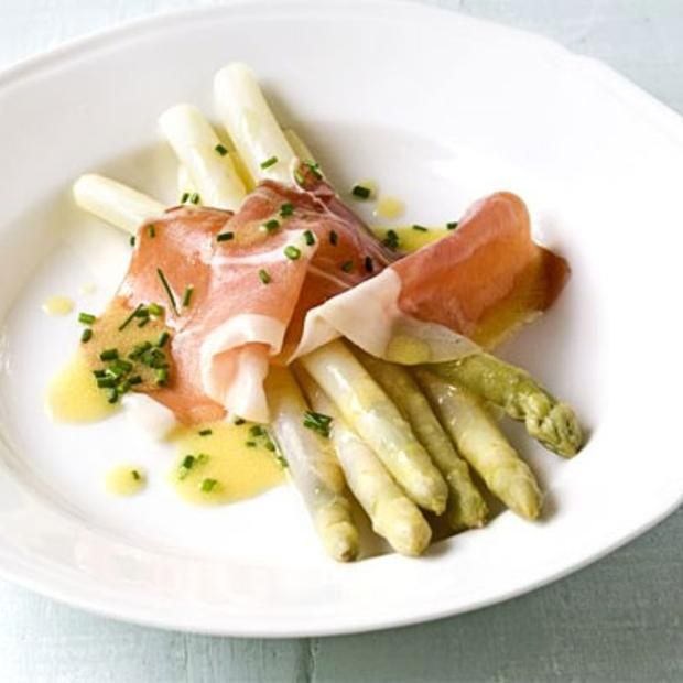 White Asparagus With Serrano Ham & Chive Dressing...serve In place of side salad or as elegant side dish