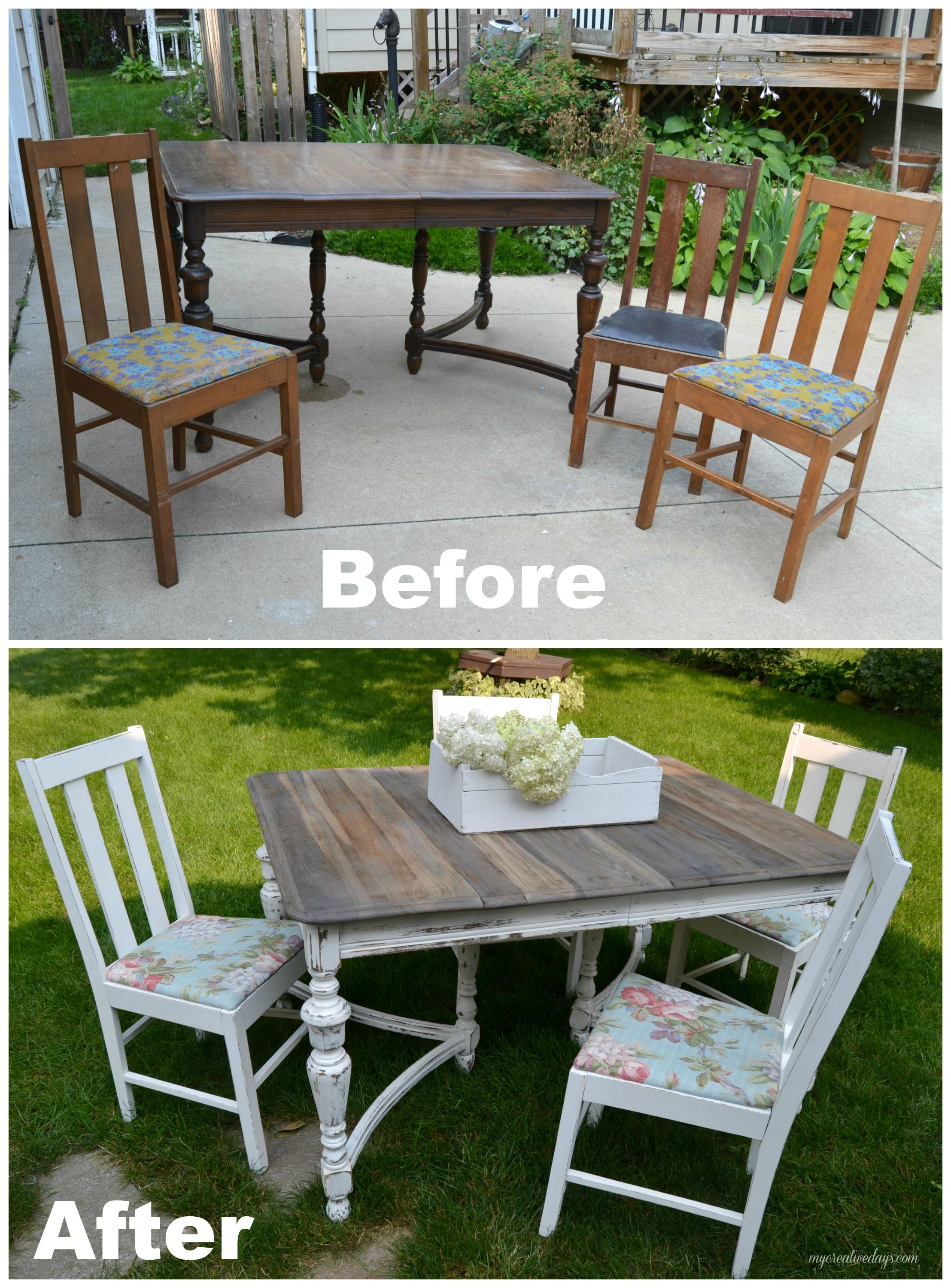 curbside table turned farm table | mismatched chairs, paint stain