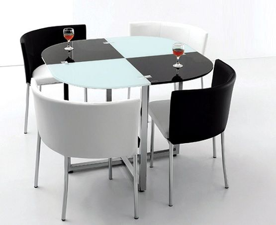 black and white space saving dining room table and chairs | dining