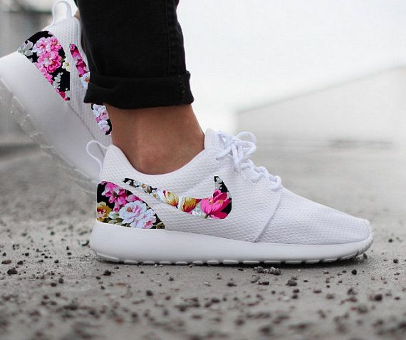 77832b4e4043 Nike Roshe Run Womens White with Custom Black Pink Floral Print ...
