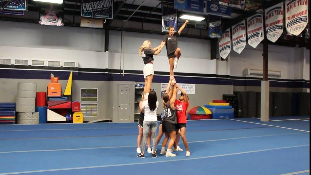 Braced Release Transition Pyramid Cheer Stunts Cheer Routines Cheerleading Stunt