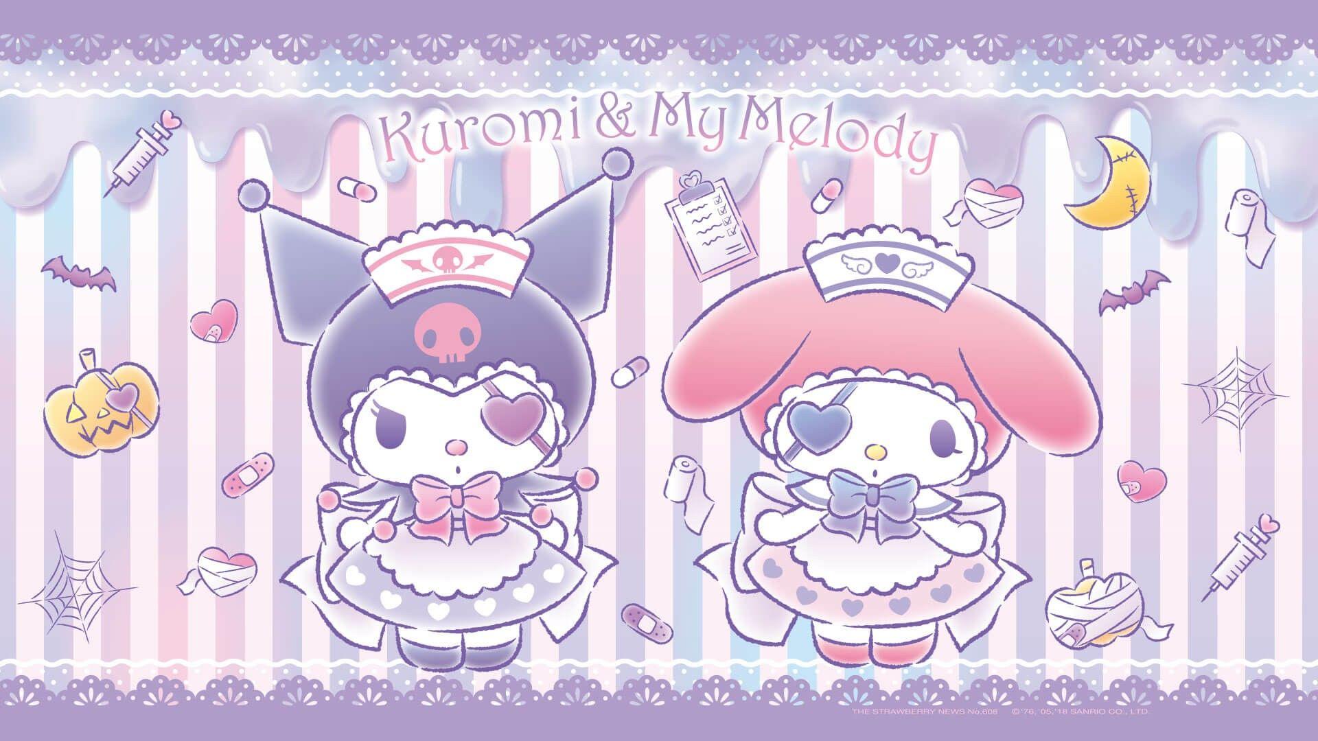 Kuromi et Melody | Sanrio wallpaper, Hello kitty wallpaper ...