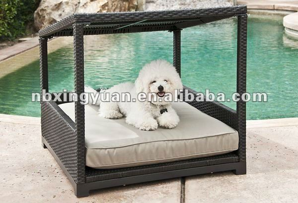 Outdoor Dog Lounger Pet Bed Sun Lounger With Canopy Pet Furniture Wicker Dog Bed Furniture