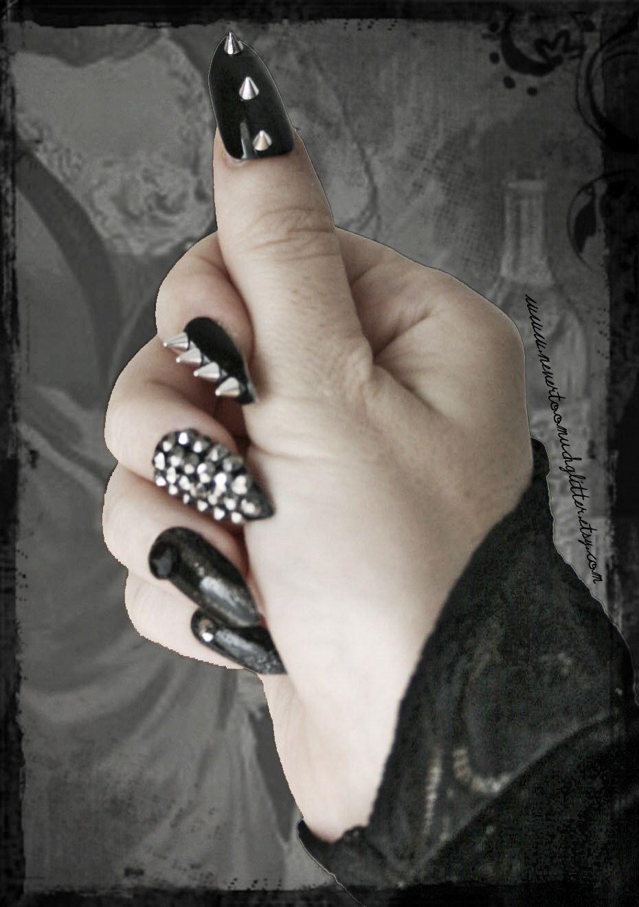 Deviant.Press On Stiletto Spiked Fake Nails, Gothic Fake Nail Art ...