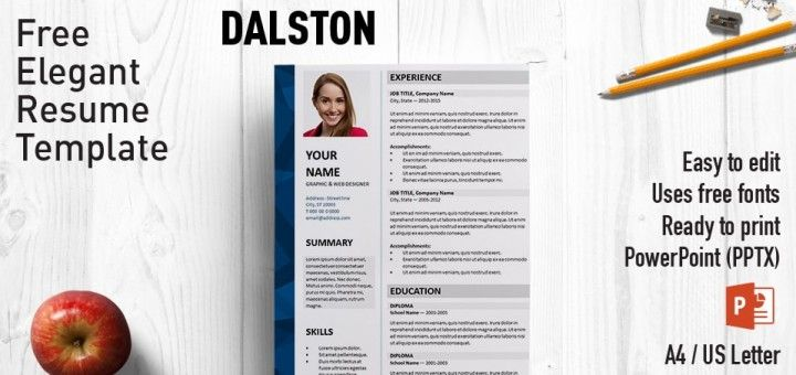 Dalston Elegant Free Resume Template  Resume  Cv For Powerpoint