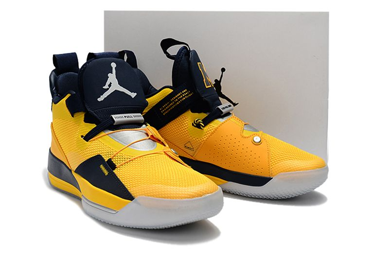 32339297bc18 Mens Air Jordan 33 Michigan PE Yellow Navy Blue Basketball Shoes-2 ...