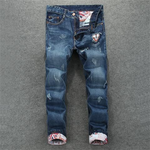 XIAOXUE Mens Jeans Ripped Holes Straight Casual Leisure Slim Fit Skinny Denim Trousers Cotton Pants