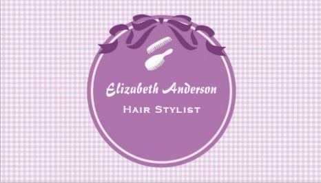 Cute hair stylist country style purple gingham and bow business cute hair stylist country style purple gingham and bow business cards colourmoves