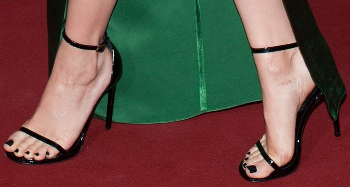 8c97f03581266 Jessie J s pedicured feet in Saint Laurent sandals