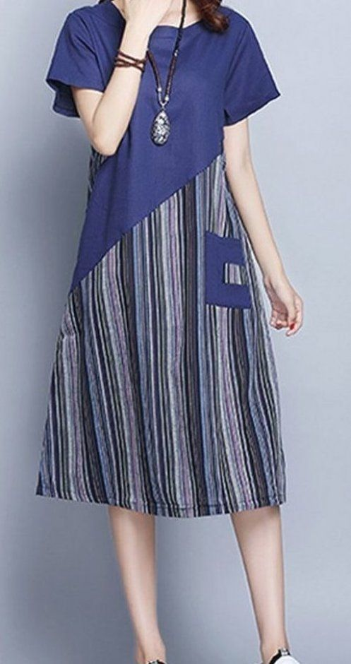 New Women loose fit patchwork stripes pocket dress tunic fashion casual chic  unbranded #fitness #wo...
