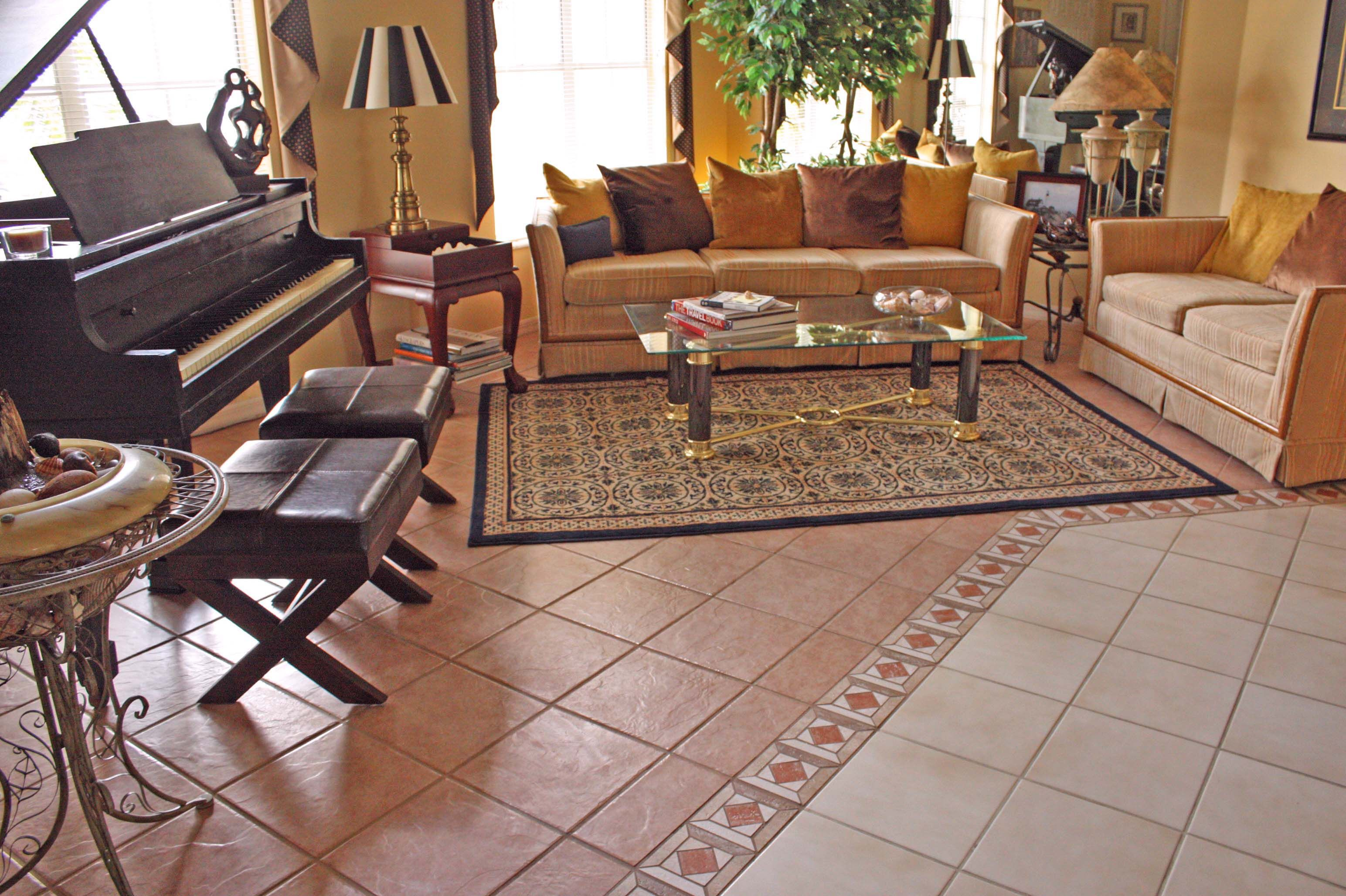 The Pros and Cons of Ceramic Tile Flooring Living room