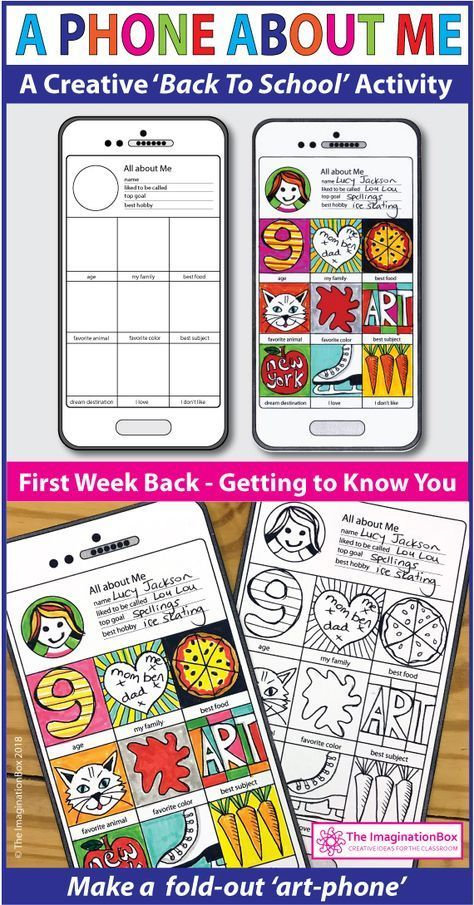 All About Me Back to School 'Art Phone' art & writing activity #firstdayofschoolhairstyles