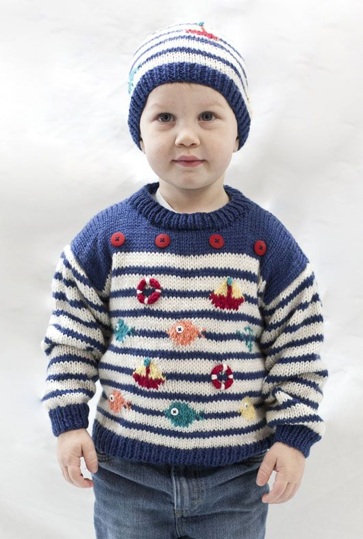 nautical pullover and hat | knit and knitting | Pinterest | Tejidos ...