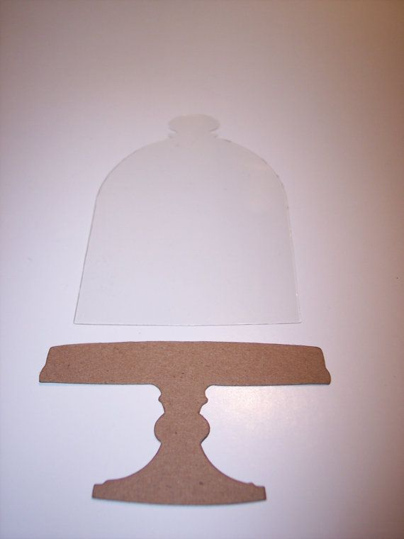 Bell Jar In Clear with Chipboard Pedestal New Die Cut by mreguera, $4.50
