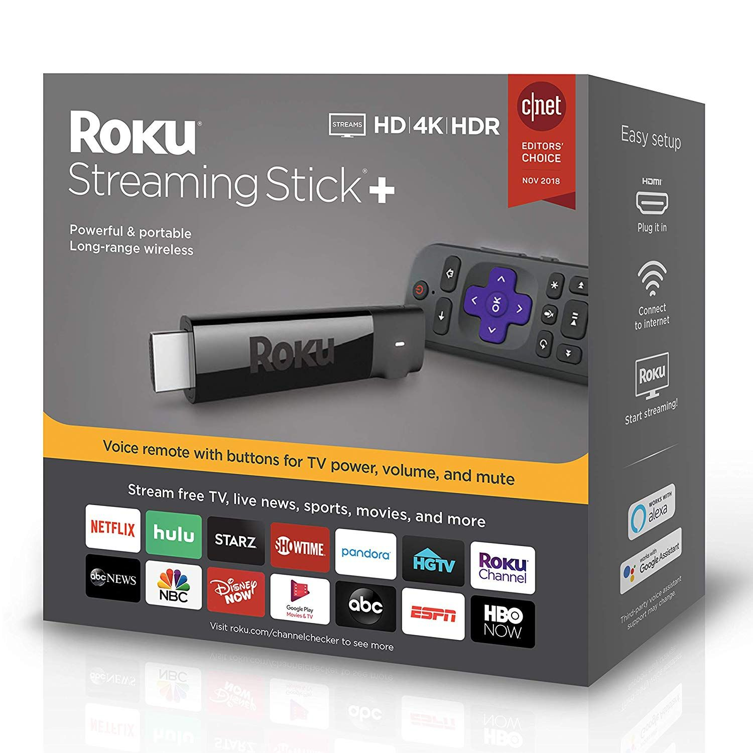 Roku Streaming Stick+ HD/4K/HDR Streaming Device with
