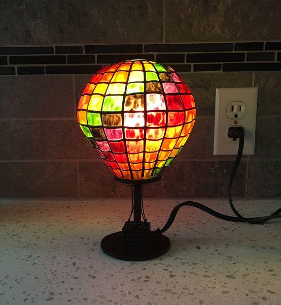 Hot Air Balloon, Home Decor Lamp, Accent Lamp, Tiffany
