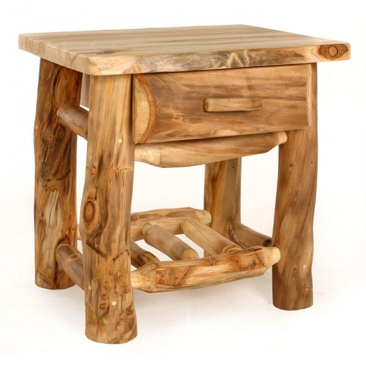 Aspen Ridge Kodiak Log Nightstand 1drw Rustic Log Furniture Log Furniture Log Cabin Furniture