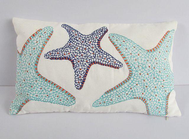 Ocean Themed Star Fish Pillow Kirlent Yastiklar Yildiz
