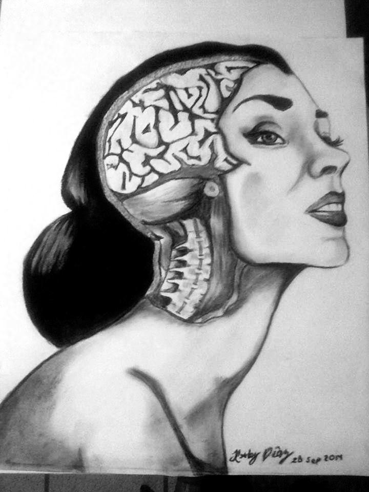 Materia gris, tecnica carboncillo, anatomia | Art, wall murals ...