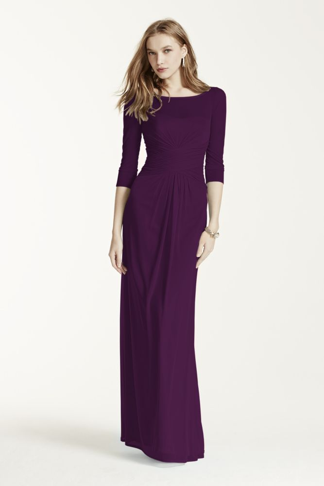 1a4ad53c52 Long Mesh Bridesmaid Dress with Illusion Sleeves - Plum (Purple)