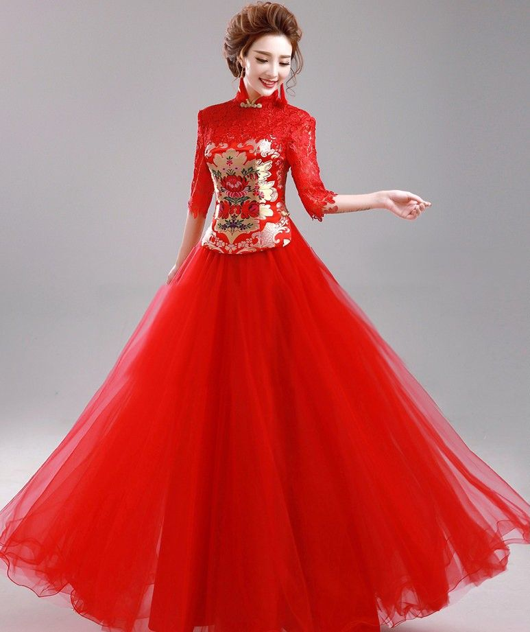 Elegant Red Long Chinese Wedding Dress With Tulle Skirt Korean Wedding Dress Chinese Wedding Dress Chinese Wedding Outfits