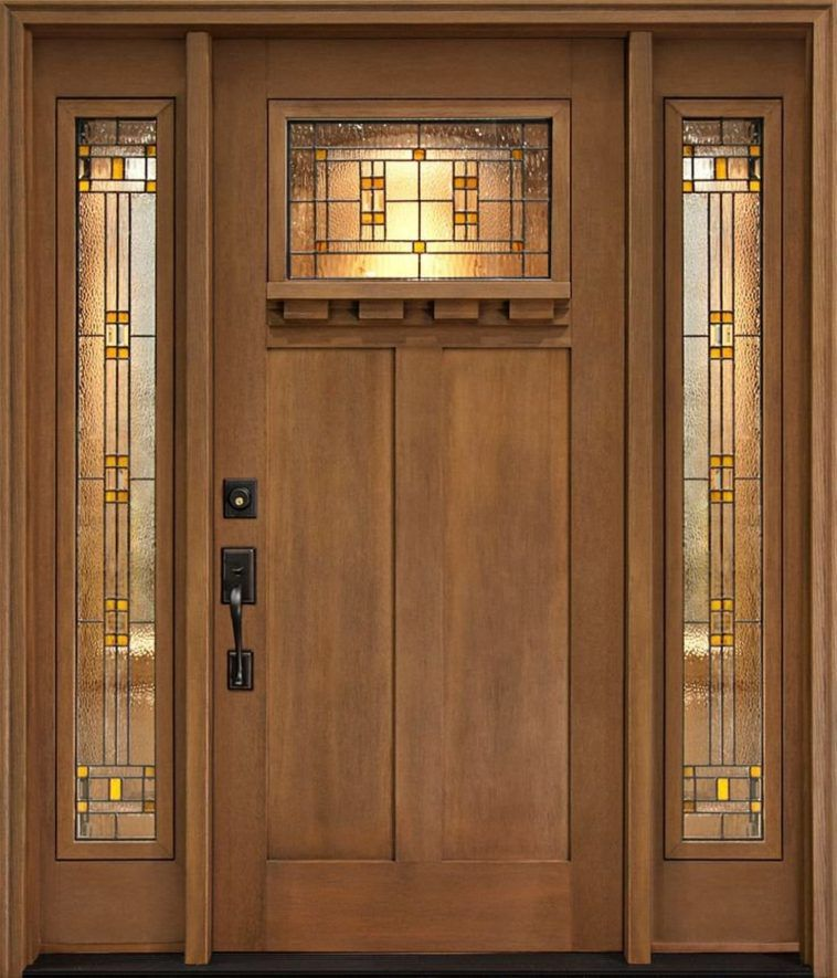 Brown Stained Oak Wood Front Door Decor With Etched Glass