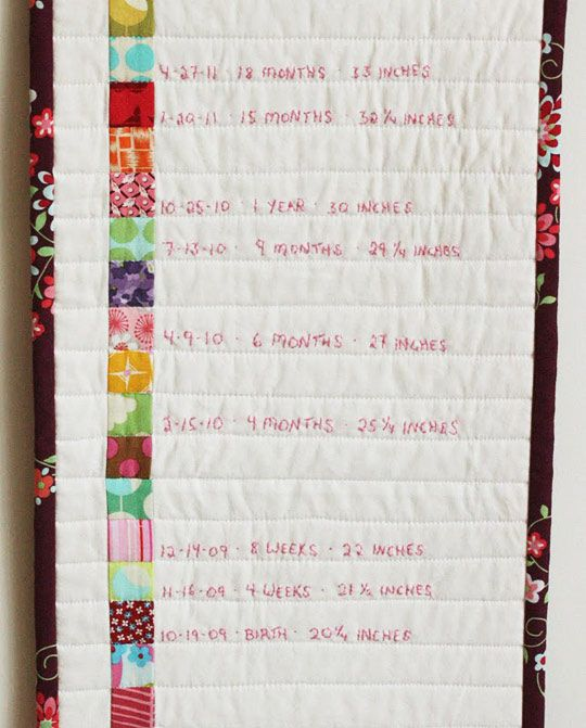 Make An Embroidered Growth Chart Growth charts, Chart and Fabric - girls growth chart template