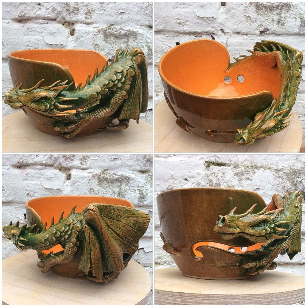 An old favourite in new colours. Dragon yarn bowl in green brown and ...