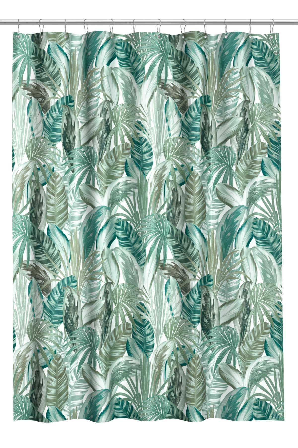 Green Leaf Patterned Shower Curtain In Water Repellent Polyester