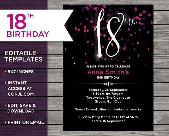 Pink 18th Birthday 18th Birthday Invitation Invitation Template 18th Birthday Invitati 18th Birthday Invites 18th Birthday Birthday Invitation Card Template