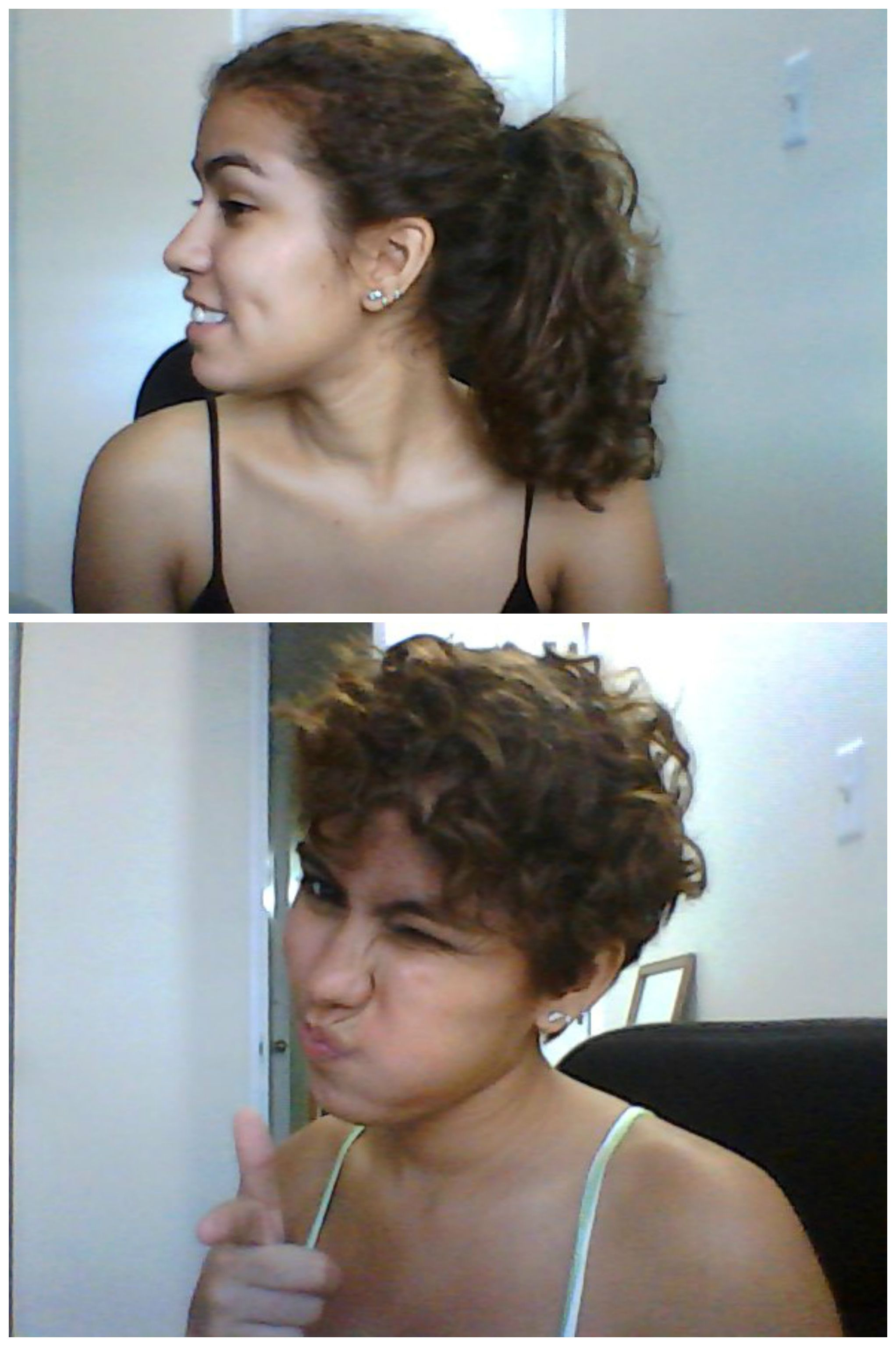 Before and after my curly pixie cut donated about inches if
