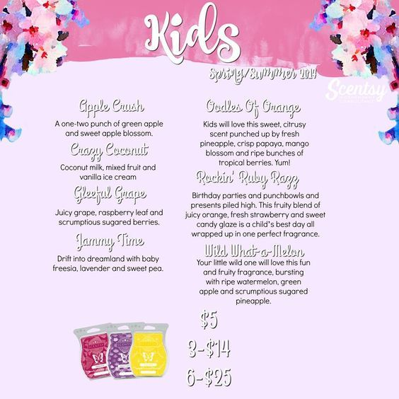 Scentsy Kid Scents. Best Smelling Wax For Wickless Safe Candle Burners.  Kids Bedroom And