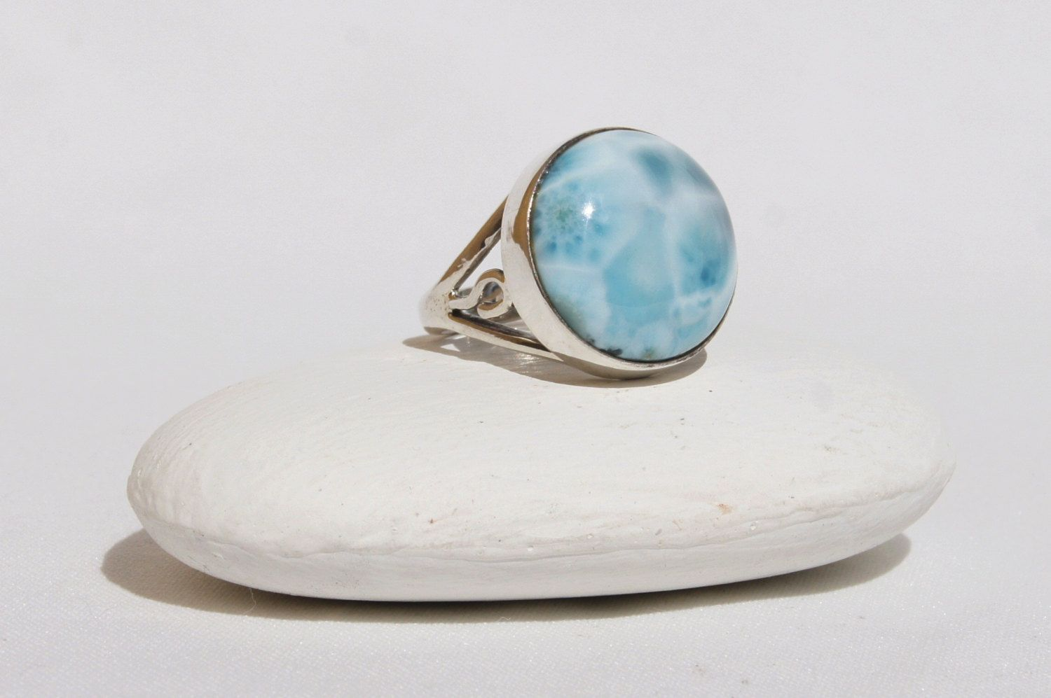 Larimar Pendant Original And Genuine Dominican AAA Handcrafted Marbled Oval Shape Larimar Stone 14K Yellow Gold Pendant Jewelry