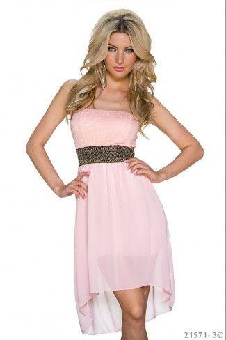 8efbc9bce03b Στράπλες μίνι φόρεμα με δαντέλα - Ροζ