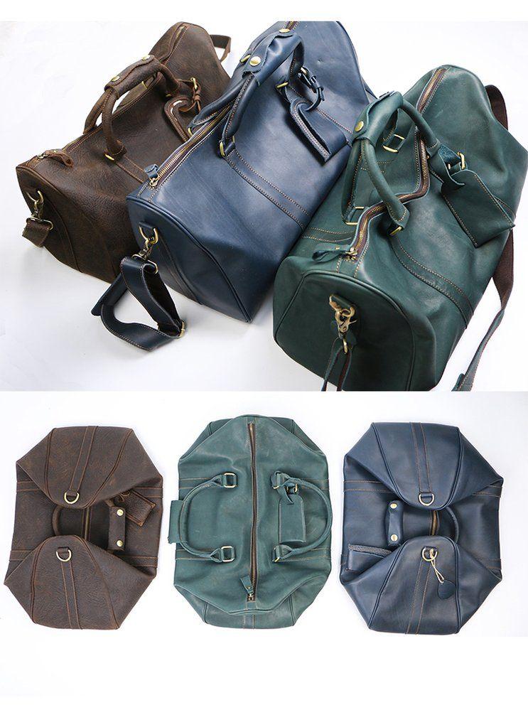 588570e991f5 Vintage Leather Mens Large Weekender Bags Cool Travel Bag Duffle Bag ...