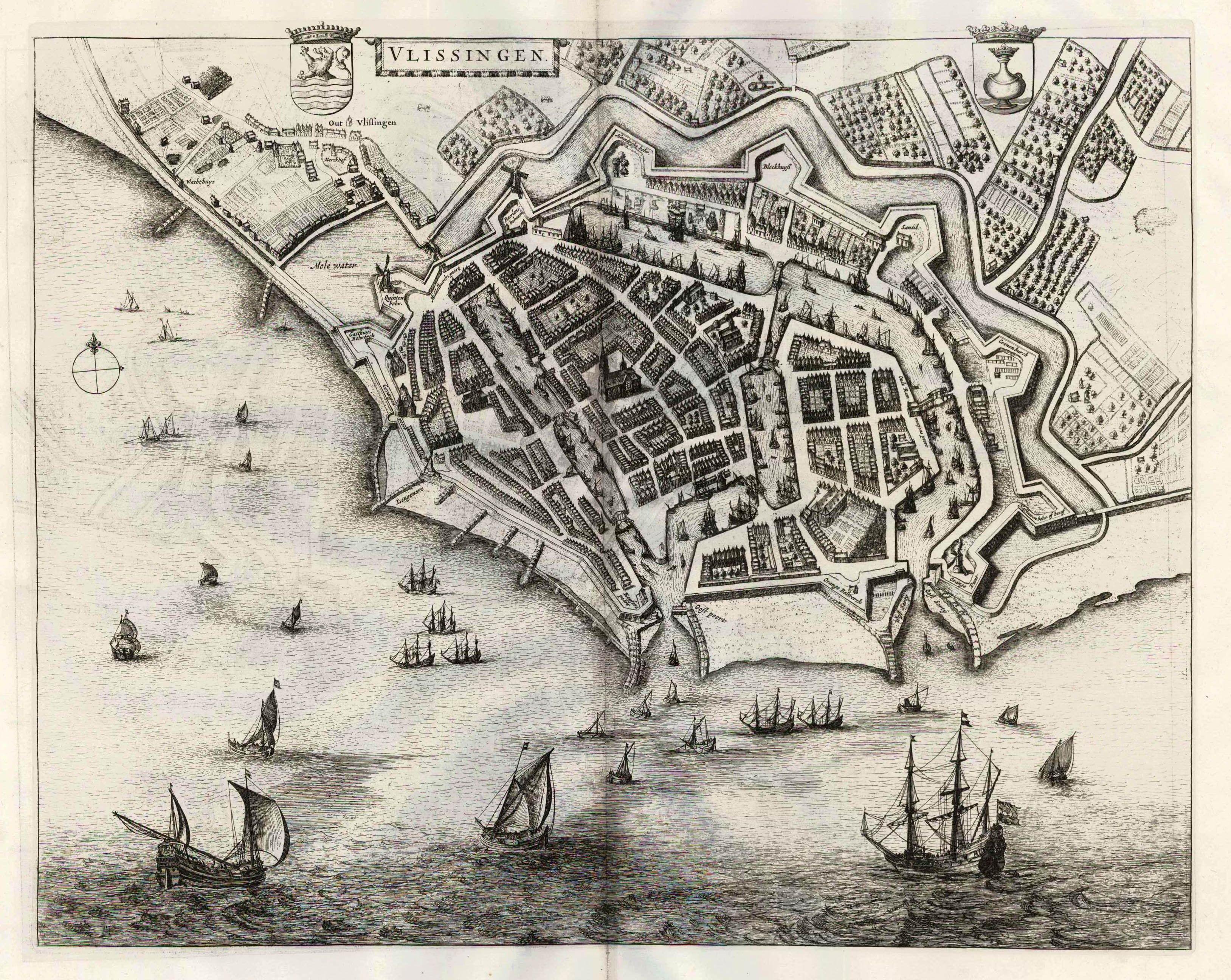 Vlissingen The Netherlands  Blaeu 1649  Golden Age maps