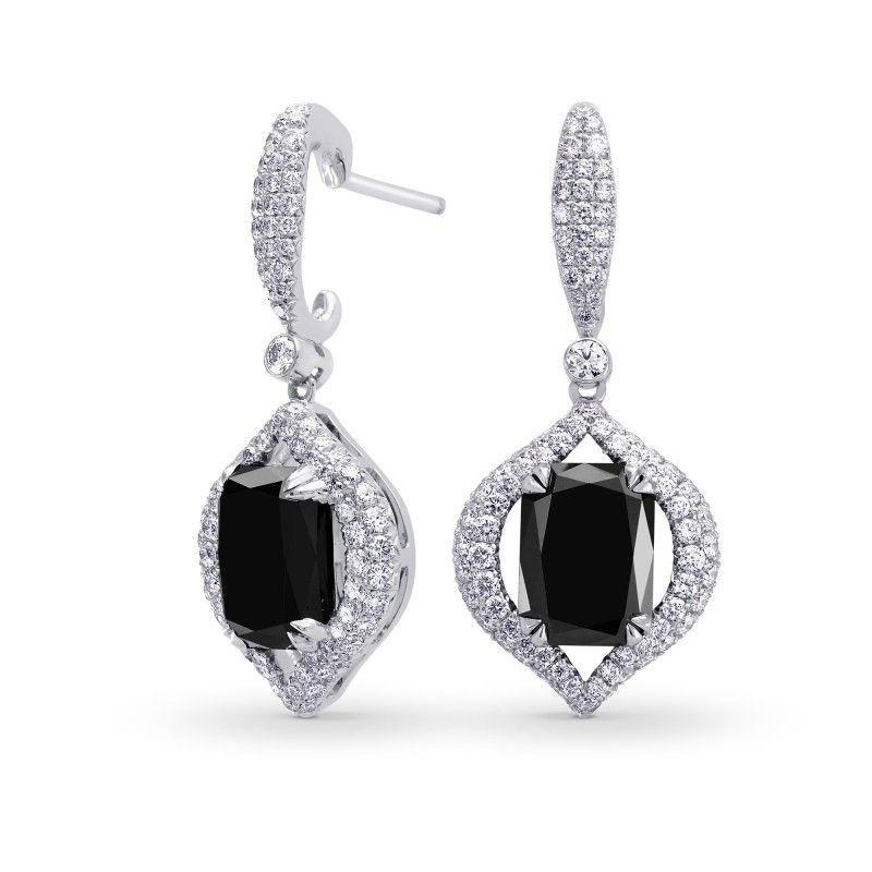 Fancy Black Radiant Diamond Drop Earrings, SKU 195120 (7.50Ct TW)