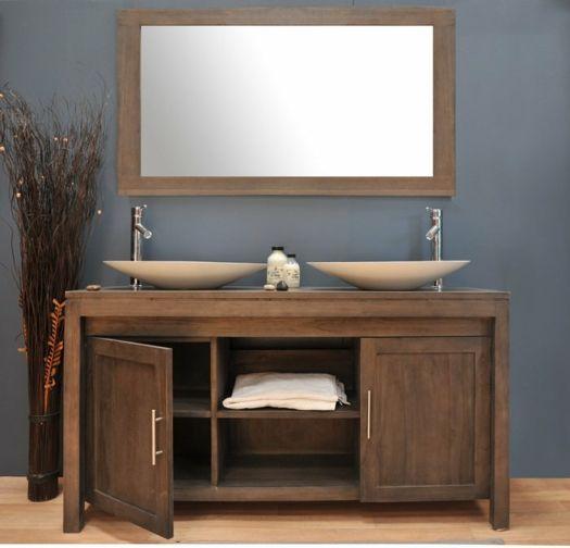 un meuble de salle de bains moderne en bois