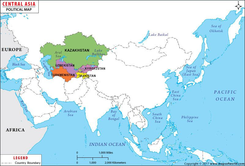 Central Asia Map | Asia maps | Central asia map, Asia map, Map