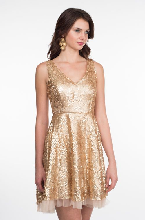 4476fd9d43a Gold Sequin Cocktail Dress