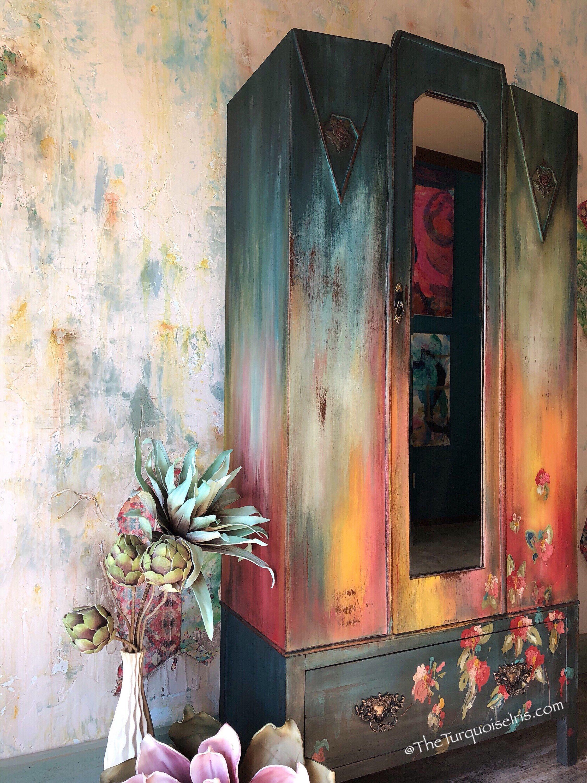 Sold Bold Boho Armoire Storage Cabinet With Hand Painted Flowers Mobilier De Salon Meubles Peints A La Main
