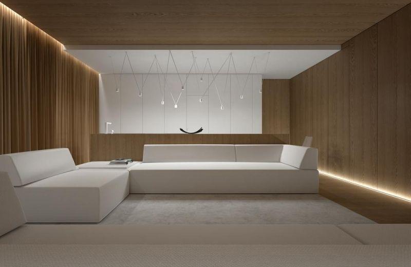 indirektebeleuchtungledwohnzimmermodernweissemoebelholzwandverkleidung  LICHT  House