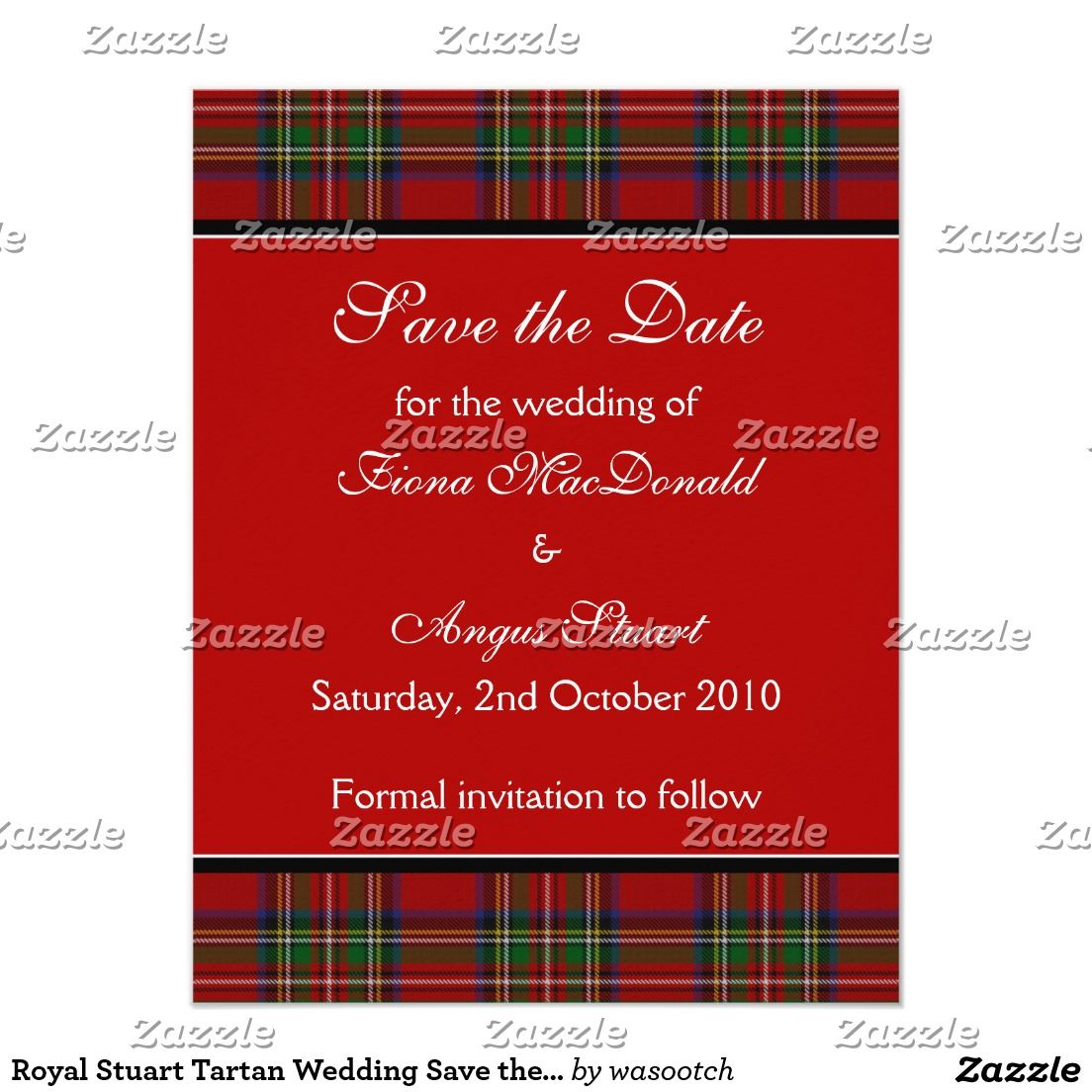 Royal Stuart Tartan Wedding Save the Date Card | Pinterest | Tartan ...