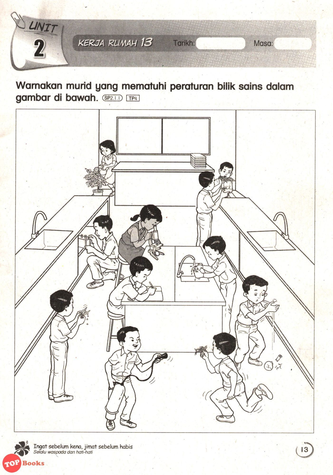 Sasbadi18 Modul Kerja Rumah Sains Tahun 1 Topbooks Plt Five Senses Worksheet Learning Activities Activities