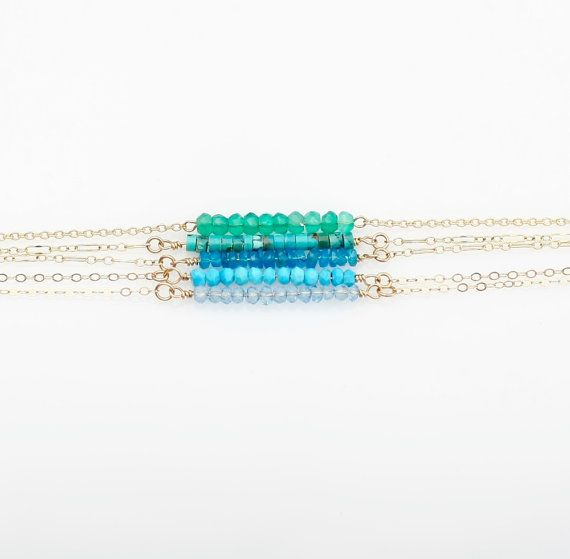 Gemstone Bar Necklaces Sterling Silver by ByMeerimsDesigns on Etsy