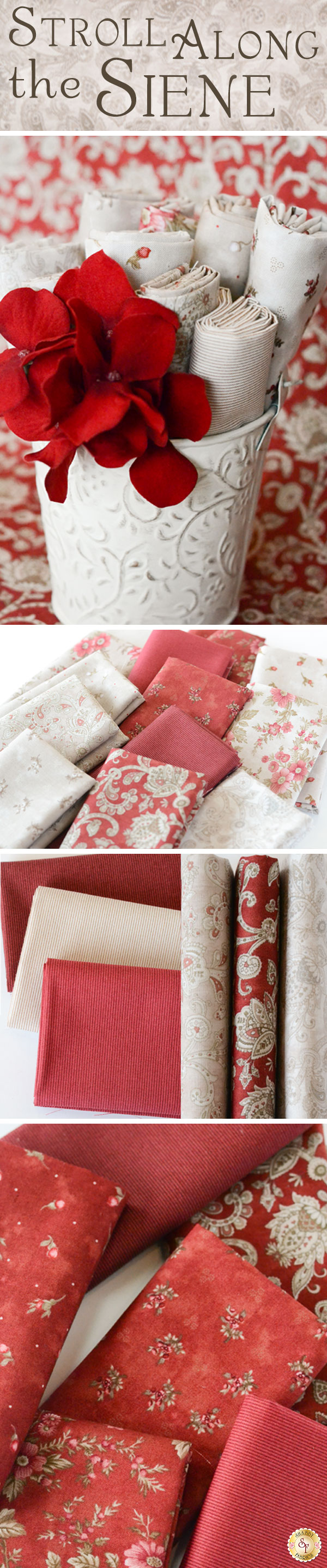 Stroll Along The Seine by Mary Jane Carey for Henry Glass Fabrics is a pretty floral fabric collection available at Shabby Fabrics