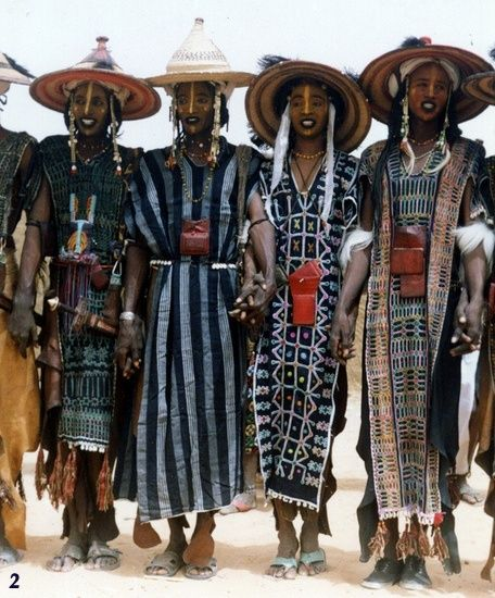 Indigo Dyed Clothing And Indigo On Body, From Niger