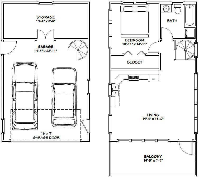 Picture 2 Of 3 Carriage House Plans Garage Apartment Plans Tiny House Floor Plans